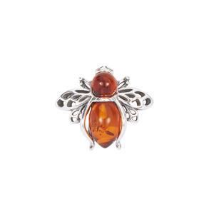 Baltic Cognac Amber Bee Brooch in Sterling Silver