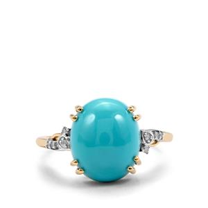 Sleeping Beauty Turquoise Ring with Diamond in 10K Gold 4.44cts