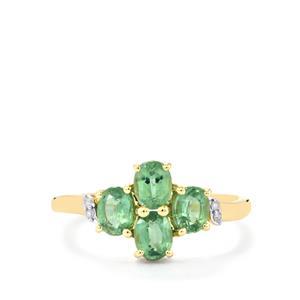Odisha Kyanite & Diamond 9K Gold Ring ATGW 1.47cts
