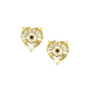 Lehrer TorusRing White Quartz Earrings with Purple Diamond in 10k Gold 2.84cts