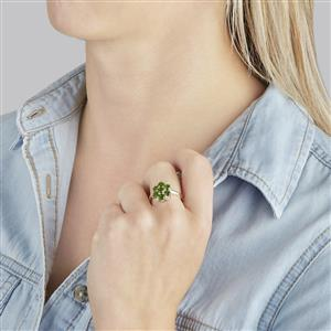 Chrome Diopside Ring with White Topaz in Sterling Silver 2.10cts