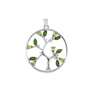 Chrome Diopside, Changbai Peridot & White Topaz Sterling Silver Pendant ATGW 3.09cts