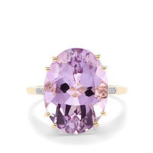 Rose De France Amethyst & Diamond 10K Gold Ring ATGW 8.36cts