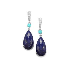 Sar-i-Sang Lapis Lazuli, Sleeping Beauty Turquoise Earrings with White Topaz in Sterling Silver 19.13cts