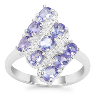 Tanzanite Ring with White Zircon in Sterling Silver 1.62cts