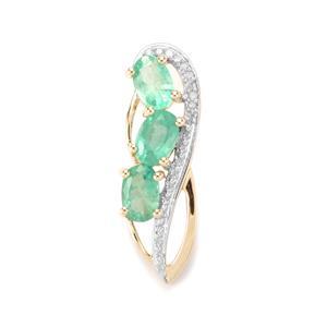 Zambian Emerald & Diamond 10K Gold Pendant ATGW 1.07cts