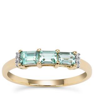 Aquaiba™ Beryl Ring with Diamond in 9K Gold 0.60ct