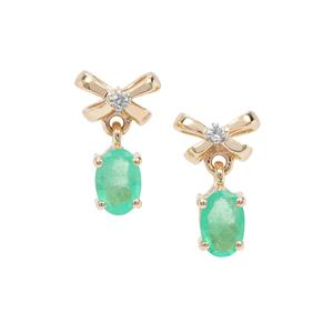 Colombian Emerald Earrings with Diamond in 9K Gold 0.81ct