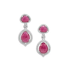 Malagasy Ruby Earrings with White Zircon in Sterling Silver 4.70cts