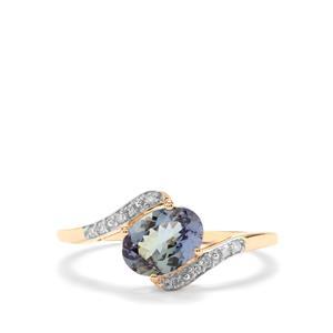 Bi Colour Tanzanite & Diamond 10K Gold Ring ATGW 1.15cts