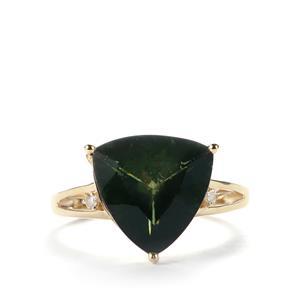 Moldavite Ring with White Topaz in 10k Gold 4.09cts