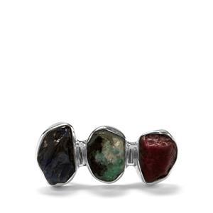 Burmese Ruby, Zambian Emerald & Ceylon Sapphire Sterling Silver Ring ATGW 8.06cts