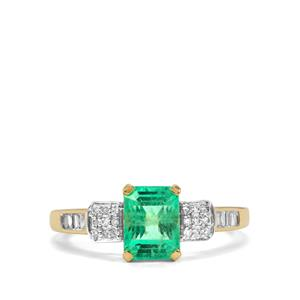 Ethiopian Emerald Ring with Diamond in 18K Gold 1.89cts