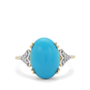 Sleeping Beauty Turquoise Ring with White Zircon in 9K Gold 4.50cts