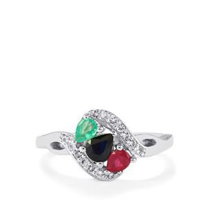0.82ct Kaleidoscope Gemstones Sterling Silver Ring