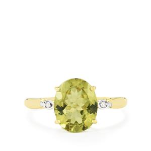 Ilakaka Natural Green Apatite & Diamond 9K Gold Ring ATGW 2.83cts