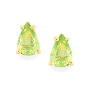 0.80ct Merelani Mint Garnet 10K Gold Earrings