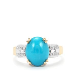 Sleeping Beauty Turquoise Ring with Diamond in 18K Gold 3.69cts