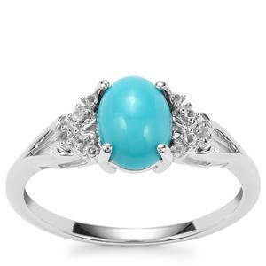 Sleeping Beauty Turquoise Ring with White Topaz in Sterling Silver 1.17cts