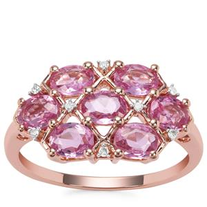 Sakaraha Pink Sapphire Ring with Diamond in 9K Rose Gold 1.76cts