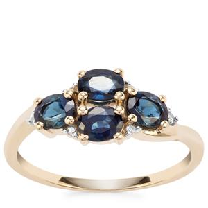 Australian Blue Sapphire Ring with White Diamond in 10K Gold 1.40cts