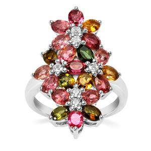 Rainbow Tourmaline Ring with White Topaz in Sterling Silver 4cts