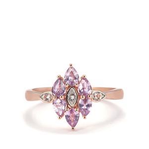 Natural Purple Sapphire & White Zircon 9K Rose Gold Ring ATGW 0.96cts