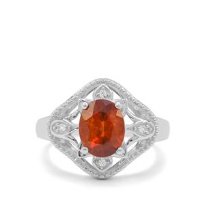 Madeira Citrine Ring with White Zircon in Sterling Silver 1.50cts