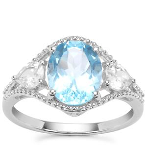 Swiss Blue Topaz Ring with White Zircon in Sterling Silver 3.96cts