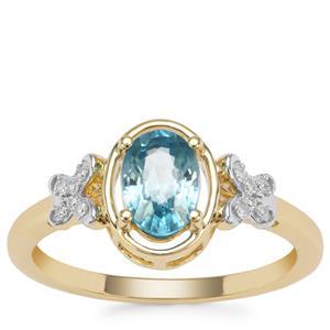 Ratanakiri Blue Zircon Ring with Diamond in 9K Gold 1.37cts