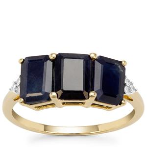 Ethiopian Blue Sapphire Ring with Diamond in 9K Gold 3.73cts