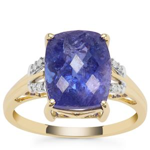 AA Tanzanite Ring with Diamond in 9K Gold 5.49cts