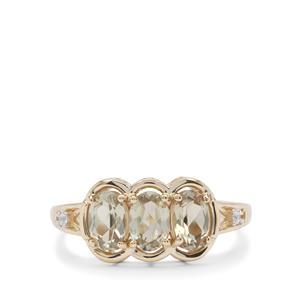 Csarite® & White Zircon in 9K Gold Ring ATGW 1.45cts