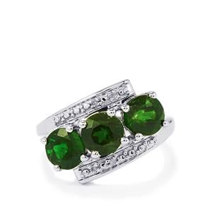 Chrome Diopside Ring with Diamond in Sterling Silver 2.58cts