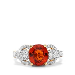 Mandarin Garnet & Diamond 18K Gold Tomas Rae Ring MTGW 3.45cts