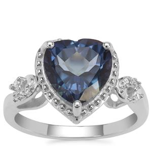 Hope Topaz Ring with White Zircon in Sterling Silver 4.25cts