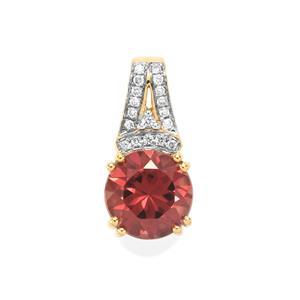 Zanzibar Zircon Pendant with Diamond in 18k Gold 3.42cts