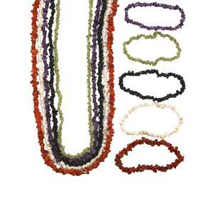 1100ct Kaleidoscope Gemstones Set of 5 Stretchable Nugget Bracelet & Necklace