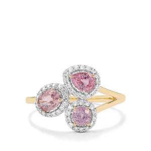 Sakaraha Pink Sapphire & White Zircon 9K Gold Ring ATGW 1.36cts