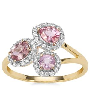 Sakaraha Pink Sapphire Ring with White Zircon in 9K Gold 1.36cts