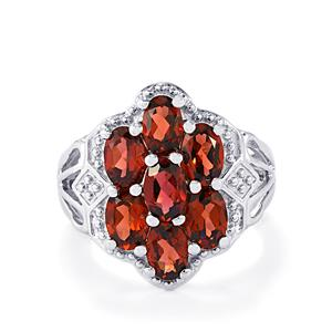 3.87ct Red Garnet Sterling Silver Ring