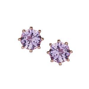 Fara™ Cut Rose De France Amethyst Earrings  in Rose Tone Sterling Silver 1.81cts