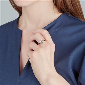 Espirito Santo Aquamarine Ring with Zircon in 10k Gold 1.29cts