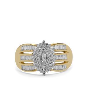 SI G/H Diamond 9K Gold Ring 1/2ct