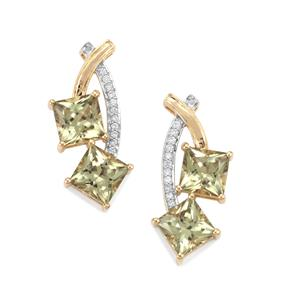 Csarite® Earrings with Diamond in 18K Gold 8.13cts