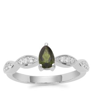 Chrome Diopside Ring with White Zircon in Sterling Silver 0.56ct