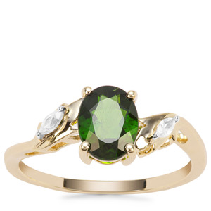 Chrome Diopside Ring with White Zircon in 9K Gold 1.48cts
