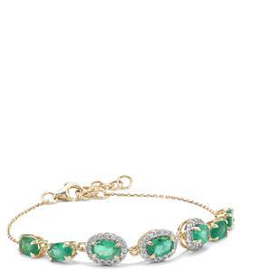 Zambian Emerald Bracelet with White Zircon in 9K Gold 3.60cts