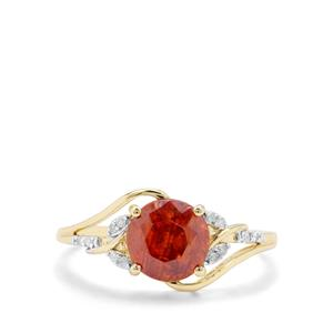 Aliva Sphalerite & Diamond 9K Gold Ring ATGW 2.02cts