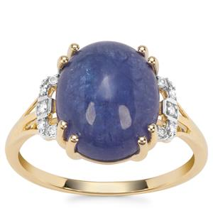 Tanzanite Ring with Diamond in 9K Gold 6.53cts